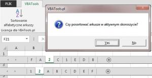 Alfabetyczne sortowanie arkuszy